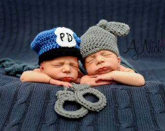 Cop Crochet Pattern, Newborn Cop Pattern, Newborn Handcuff Pattern, Crochet Pattern, Cop and Robber Pattern, Newborn Prop Pattern, Prop