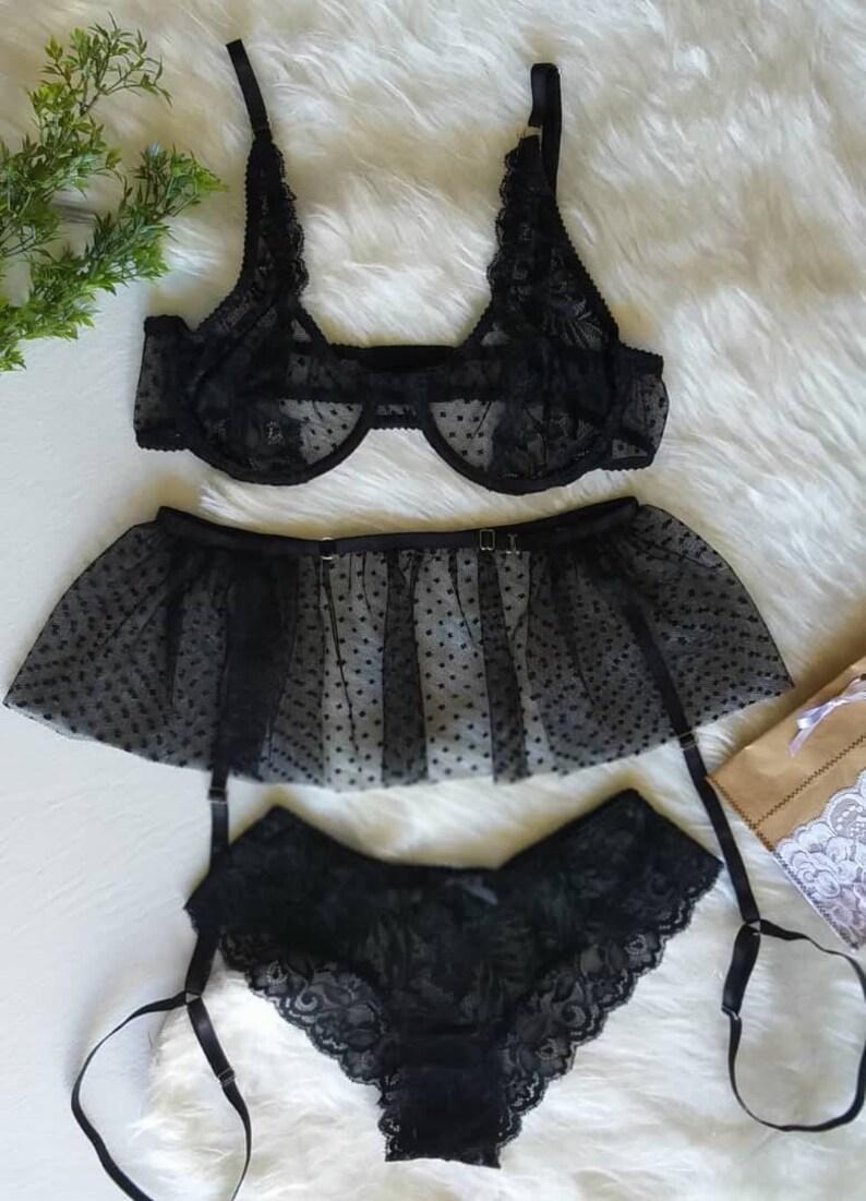 936d7827ce1 See through lingerie set sheer panties mesh lingerie garter
