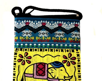 Ethnic pouch from Thailand cotton multicolored jewelry pouch makeup pouch