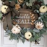Hello fall, fall wreath, fall decor wreath, fall flowers, Thanksgiving wreath, lambs ear wreath, white pumpkin wreath, gold  white pumpkins