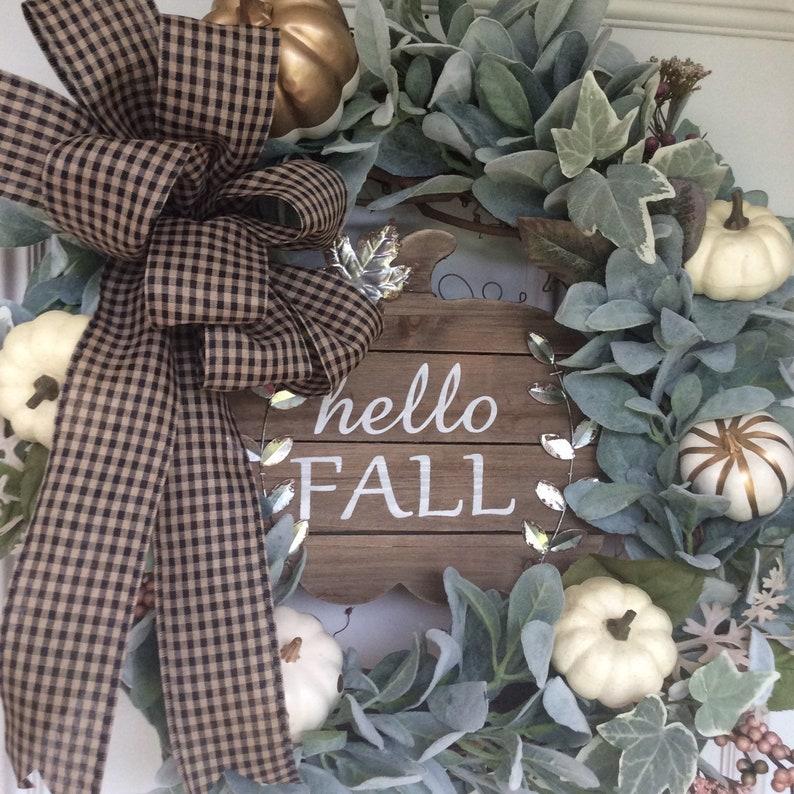 Hello fall fall wreath fall decor wreath fall flowers image 0