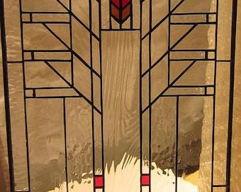 """Frank Lloyd Wright Arrow Stained Glass Window, 21"""" L. X 12"""" W."""