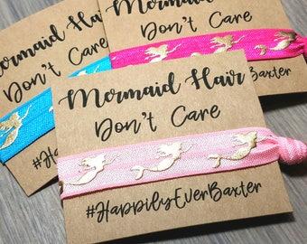 Mermaid Hair Don't Care Hair Tie Favors | Bachelorette Party Favors | Bachelorette Hair Ties Favors | Mermaid Theme Bachelorette