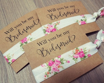 Will You Be My Bridesmaid? | Floral Hair Tie Favors | Bridesmiad Proposal + Gift | Bachelorette Hair Ties + Party Favors