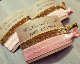 Bachelorette Party Favors   To Have and To Hold Your Hair Back   Peach Pink and Gold Hair Tie Favors