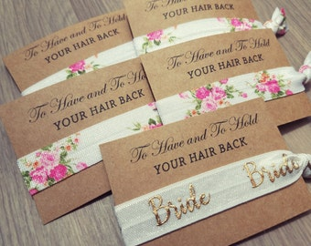 Bachelorette Party Favor | To Have and To Hold Your Hair Back Favors | Floral Hair Tie Favors | Bachelorette Hair Tie Favor