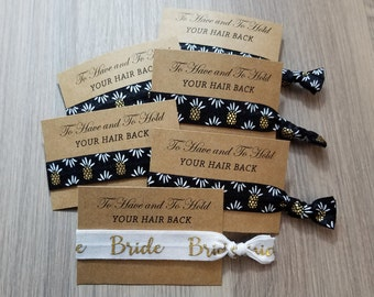 Black Pineapple Bridal Set | To Have and To Hold Your Hair Back Favors | Bachelorette Party Favors | Bachelorette Hair Ties | Hair Tie Favor