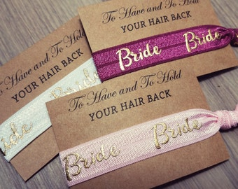 Bride Hair Tie Bridal Shower Favor | Bride Hair Tie Favor | Burgundy Favors, To Have and To Hold Favors | Hair Tie Bridesmaid Gift
