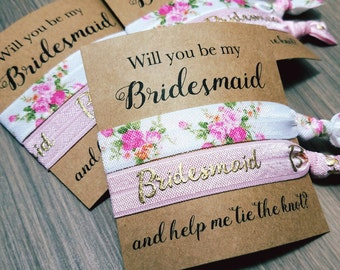 Will You Be My Bridesmaid and Help Me Tie The Knot Hair Tie Favor   Bridesmaid Proposal   Will You Help Me Tie The Knot   Bridesmaid Gift