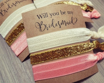 Will You Be My Bridesmaid Hair Tie Favors | Pink + Gold Bachelorette Party Favors | Bridesmaid Proposal Favors | Hair Tie Favors