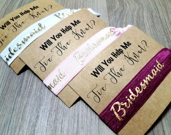 Will You Help Me Tie The Knot Bridesmaid Hair Tie Favors | Bachelorette Party Favors | Bridesmaid Proposal | Bridesmaid Gift