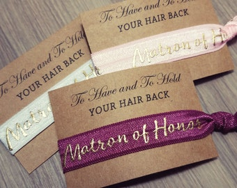 Hair Tie Bridal Shower Favor | Matron of Honor Hair Tie Favor | Burgundy Favors, To Have and To Hold Favors | Hair Tie Bridesmaid Gift