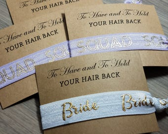 Bachelorette Party Favors | Lavender Bride Squad Hair Tie Favor | To Have & To Hold Your Hair Back Favor | Bachelorette Hair Tie Favors