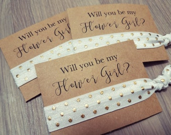 Will You Be My Flower Girl? | Bachelorette Party Favors | Wedding Favors | White + Gold Polka Dot Hair Tie Favors