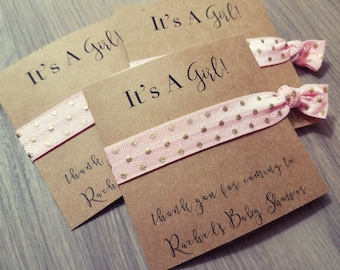Pink and Gold Baby Shower Hair Tie Favor | Polka Dot Baby Shower Hair Tie Favor | Baby Shower Hair Tie Favor | It's a Girl