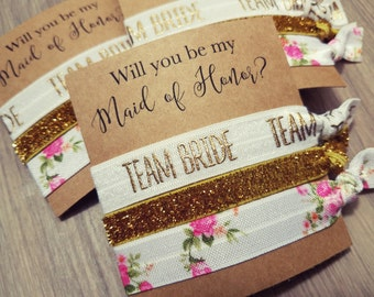 Will You Be My Maid Of Honor Hair Tie Favors | Bachelorette Party Favors | Bachelorette Hair Ties | Hair Tie Favors | Bridesmaid Proposal