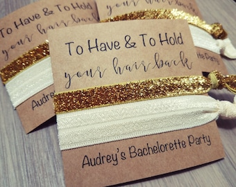 Bachelorette Party Favors   To Have and To Hold Your Hair Back   Ivory and Gold Hair Tie Favors