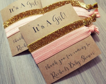 Peach Pink and Gold Baby Shower Hair Tie Favor | Pink Baby Shower Hair Tie Favor | Gold Baby Shower Hair Tie Favor | It's a Girl
