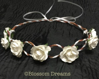 White roses head crown
