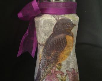 Purple bird glass jar