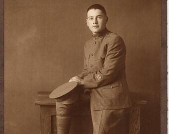 Vintage Antique Photograph US ROTC Graduate dated 1918 ~ Petaluma, California