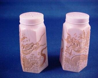 Nice Vintage Antique Chinese Hand Carved Dragon Motif Salt   Pepper Shaker  Set ~ Signed 84e9373ebc6