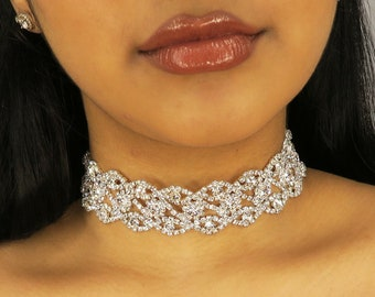 48c14b8df SIENNA Silver Crystal Diamond Choker   statement sparkle choker   flower  necklace - gifts for her