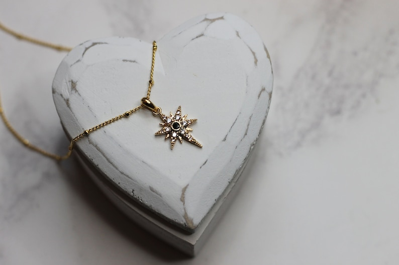 Make A Wish  Wishing star pendant necklace  gold pendant necklace  cubic zirconia  layer necklace  gold chain