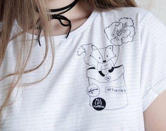 No Fox Hunting T Shirt Ladies Striped