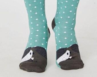 Dog Toe Green Bamboo Soft Socks - Ladies