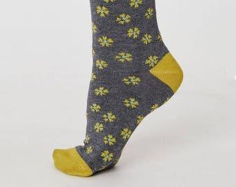 Grey Floral Bamboo Socks - Little Flowers - Ladies