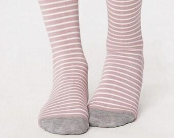 Vintage Pink Stripe Bamboo Socks - Ladies