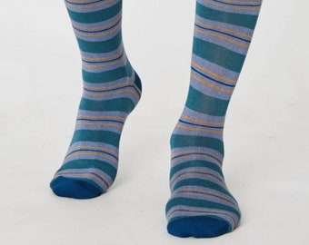Blue and Yellow Striped Bamboo Socks