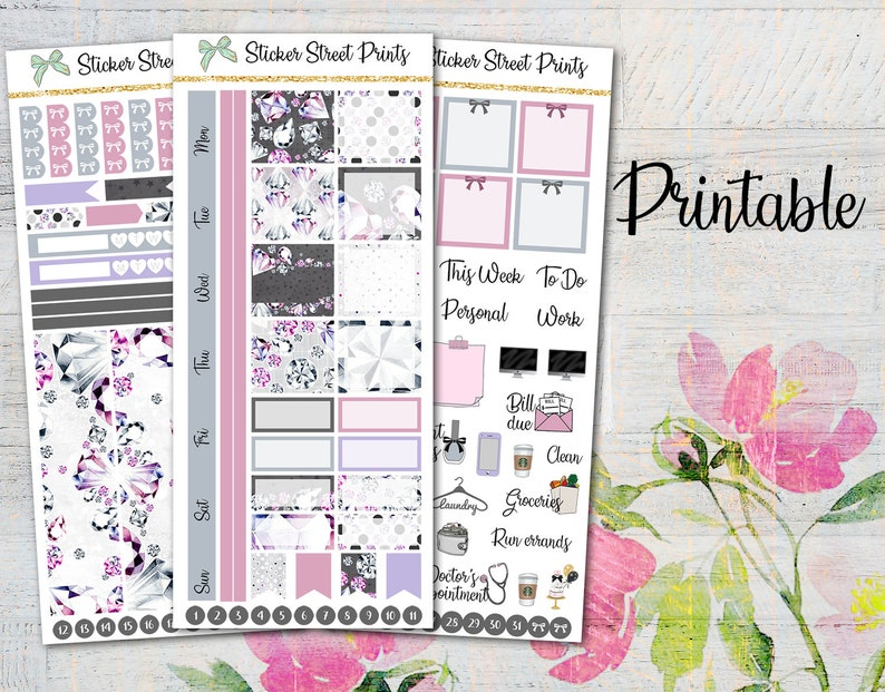 SHINY BLING Printable Planner Stickers/Hobonichi Weeks Planner  Stickers/Weekly Planner Sticker Kit/Fashion Sticker Set/Digital Stickers