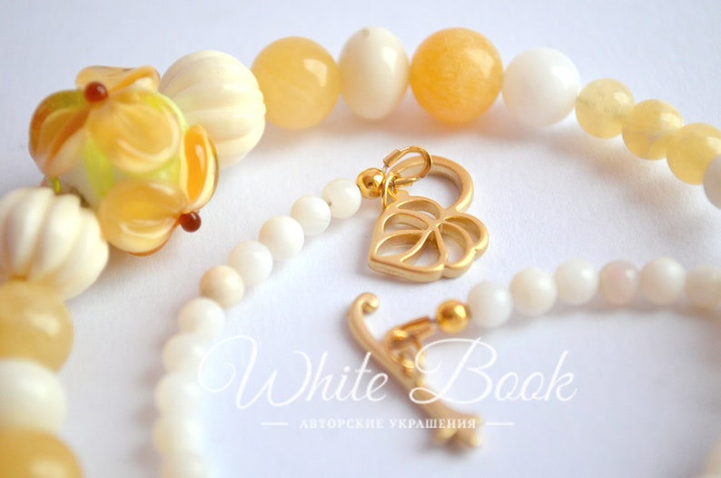 Flower necklace lampwork bead mother of pearl delicate necklace white coral calcite honey stories yellow flower