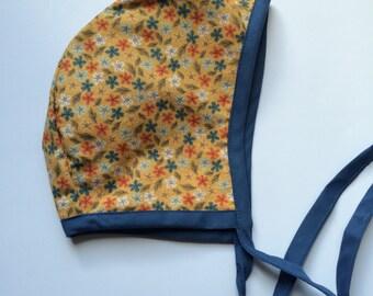SALE // Baby Bonnets // Fall bonnet// Reversible Bonnet //Handmade Bonnet // Hat, Baby Hat // Bonnet, Mustard Yellow, Blue, Floral