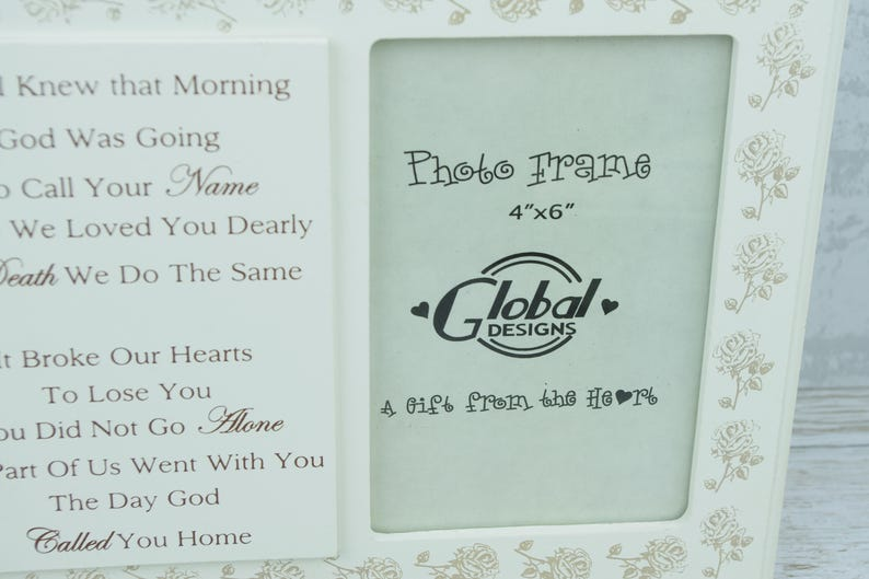 Remembrance Photo Frame I Knew God Was Going To Call Your Name 4 x 6 Wooden Roses F1595