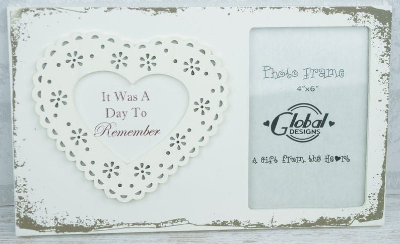 Lace Heart Photo Frame It Was A Day To Remember Wedding Selfie Frame 4x6  F1503B