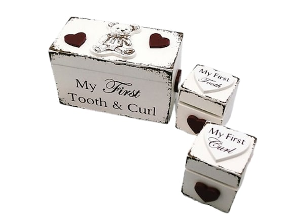 Metal Bear My First Tooth and Curl Storage Box Keepsake Memorial Gift Silver