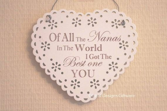Nana Wall Plaque Of All The Nanas In The World Wooden Heart Sign 17cm F1695C