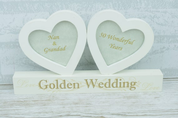 Personalised 50th Anniversary Double Twin Heart Photo Frame Etsy