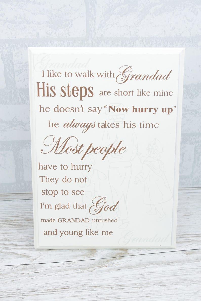 Grandad Plaque Je voudrais marcher avec grand-père hommage en bois crème 25 cm F1031A