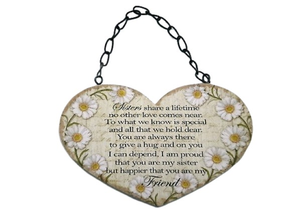 Personalised Heart Shaped Metal Hanging Plaque Braver Daughter Sister Friend