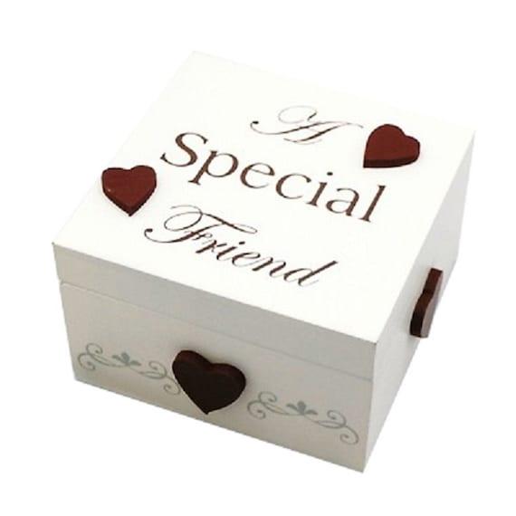 Trinkets Box A Special Friend Keepsakes Cute Jewellery Storage Cream Wood F1396D