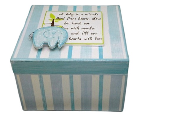 Birth Gifts Personalised and Gifts Blue Baby Elephant White Wooden Keepsake Box Baby Gift Idea Baby Cards Wedding