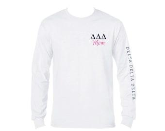 43a8aebf Greek Sorority Mom Shirt I Dad Shirt I Unisex Longsleeve Shirt I Greek  Letters