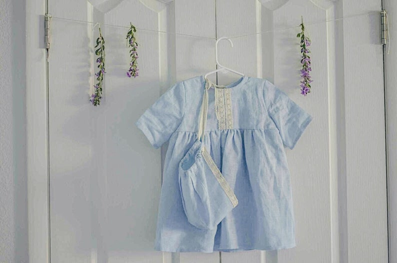 233eaf30a5 Light blue linen dress with lace for baby special