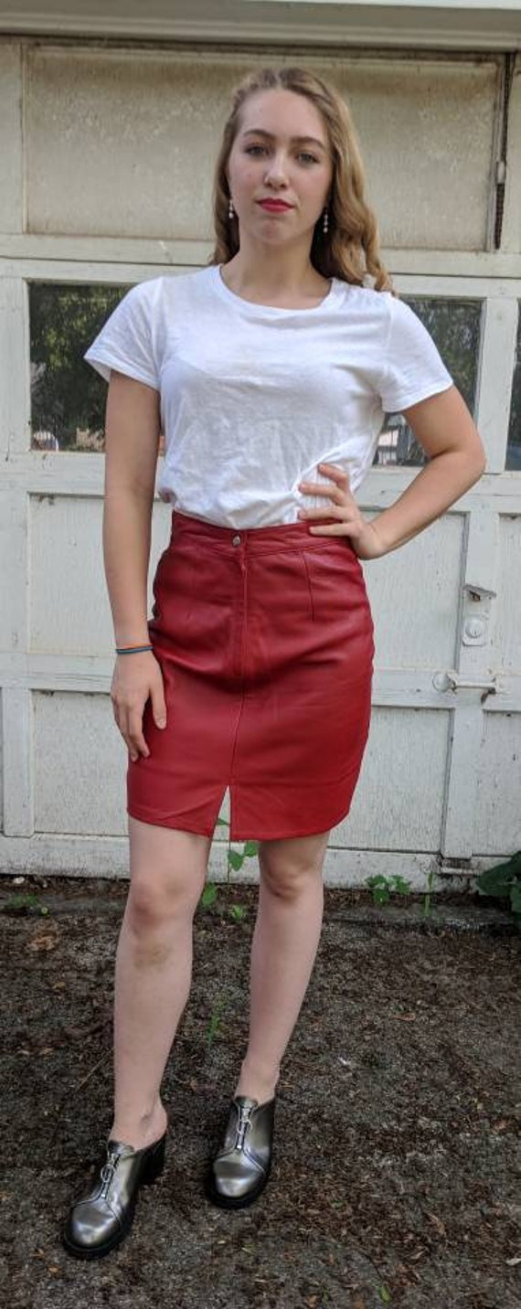 90s red leather skirt