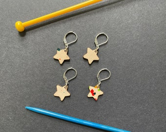 Leather star stitch markers