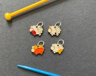 Leather sheep stitch markers